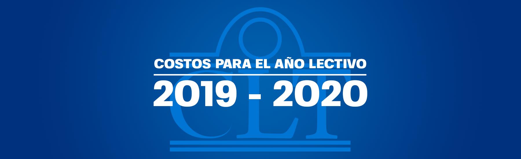 Costos para el año lectivo 2019-2020